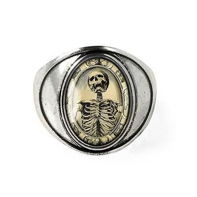 Gothic Victorian Memento Mori Death Skeleton Antique Silver Horror Glass Ring