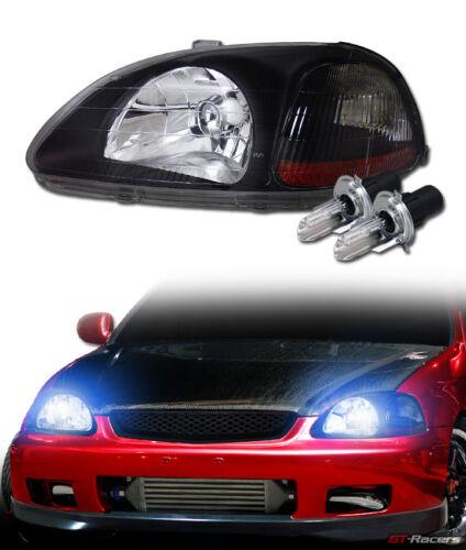 10000K Hid Bi-Xenon+Blk Headlights Lamp Signal Amber Dy 96-98 Honda Civic Ek Ej