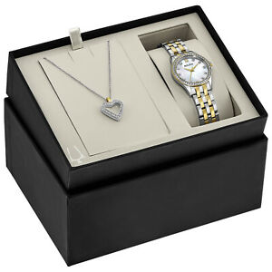 Bulova-Women-039-s-Quartz-Two-Tone-28mm-Watch-and-Crystal-Pendant-Set-98X113