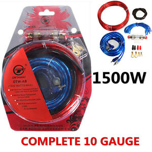 1500w complete 10 awg gauge car amp audio amplifier cable subwoofer rh ebay co uk subwoofer wiring kit autozone subwoofer wiring kit walmart