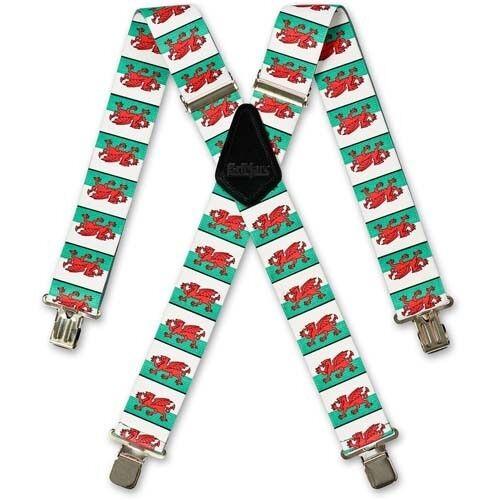 Brimarc Wales Welsh Flag Braces 950790 Heavy duty elasticated braces