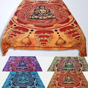 Tagesdecke-Bettueberwurf-Lotus-Buddha-Batik-Dekotuch-Indien-Hippie-Wandbehang-Om