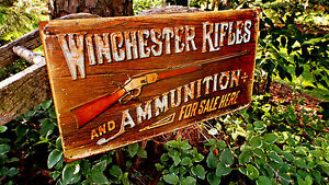 Winchester-Rifles-Ammunition-Tin-Metal-Sign-Guns-Ammo-Hunting-Rustic-Collectible