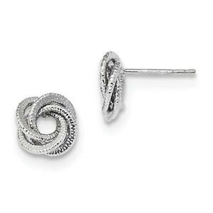 14k Solid White Gold Love Knot Cable Design Style Stud Post Earrings Gift