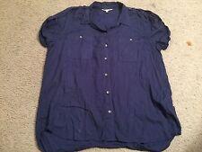 CALVIN KLEIN Blue Button Down Short Sleeve Casual Top Blouse Shirt womens Large