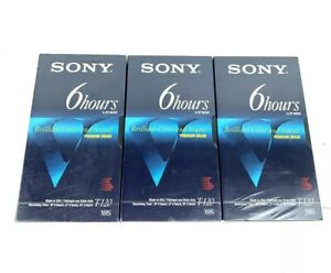 Lot of 3 Sony T-120 Blank VHS VCR Premium Grade Video Tapes 6 Hrs New Sealed