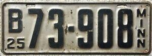 GENUINE-American-1925-Minnesota-USA-License-Licence-Number-Plate-Tag-73-908