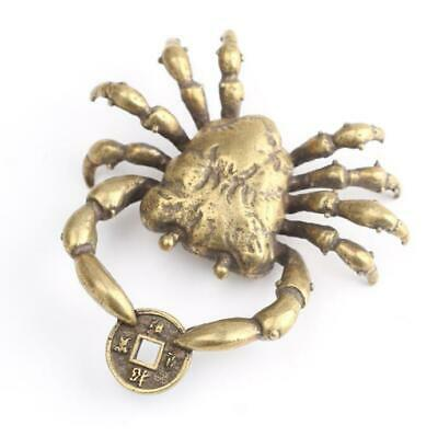49MM Small Curio Chinese Bronze Exquisite Animal Crab Clamp Money Wealth Statue
