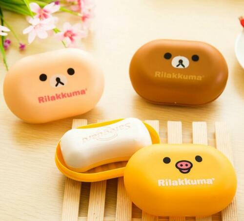 CB164 Cartoon Rilakkuma San-X Relax Bear Home Soap Box With Cover 3 Colors