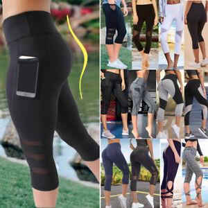 f0e74f5379be8 Women's Capri Yoga Pants High Waist Cropped Pocket Leggings Sports ...