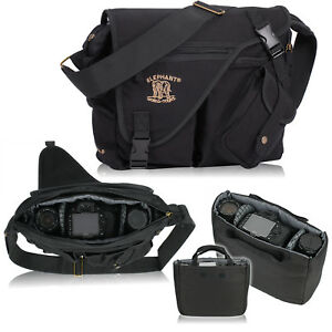 D-SLR-Umhaengetasche-ELEPHANT-Canvas-Fototasche-MALAWI-Spiegelreflex-Tasche-Black