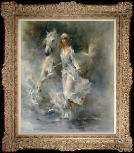 Hand-painted original Oil painting art Impressionism girl horse on canvas 20x24""