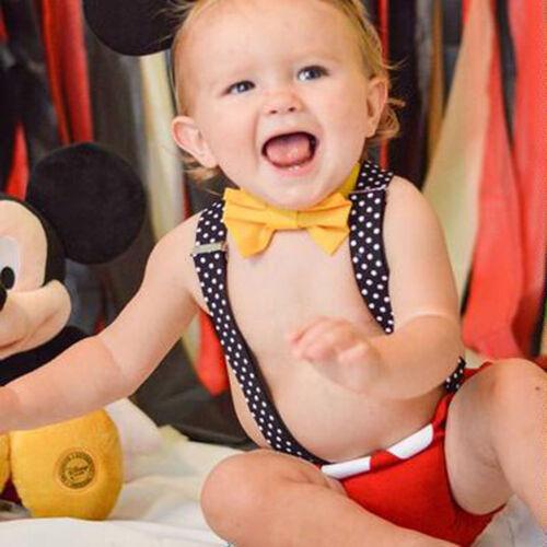 Pastel Smash sesión fotográfica Accesorio Regalo Bebé Niño Mickey primero 1st Cumpleaños Traje 3 un