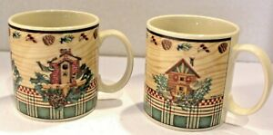 Vintage-DEBBIE-MUMM-WINTER-BIRDS-SAKURA-MUGS-Coffee-Cups-set-2-20188