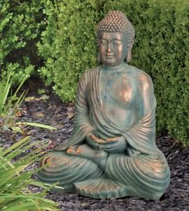Image Is Loading Garden Buddha Statue Copper Patina Sculpture Zen Patio