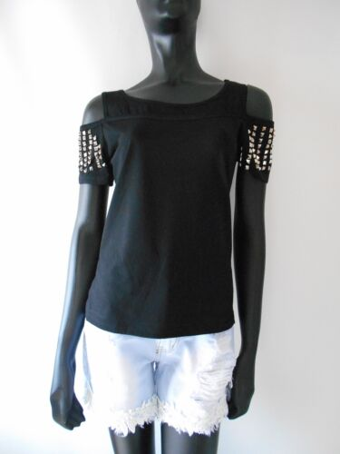 T-shirt donna nera borchie effetto canottiera maglietta slim fit cotone