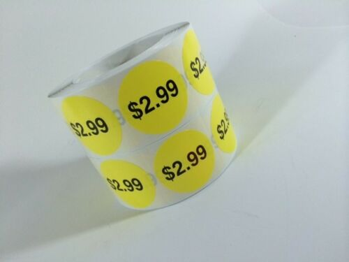 """500 $2.99  2/"""" Price Point Labels Stickers Retail 500  2/"""" Price Point Labels NEW"""