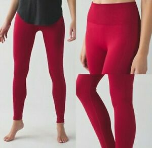 LULULEMON-WOMEN-039-S-SZ-4-RED-CRANBERRY-ZONE-IN-TIGHT-SEAMLESS-COMPRESSION-YOGA-EUC