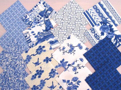 Stoffpakete Precuts Scraps 5x5+10x10 Stoffe blau-weiß PORCELAIN BLUE Fabri Quilt