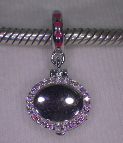 """Chawin Argent Sterling 925 /""""maquillage compact/"""" émail Cristal Rose Charme Européen"""
