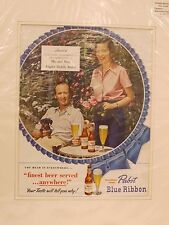 Original 1949 Vintage Advert mounted ready to framed Pabst Blue Ribbon Beer