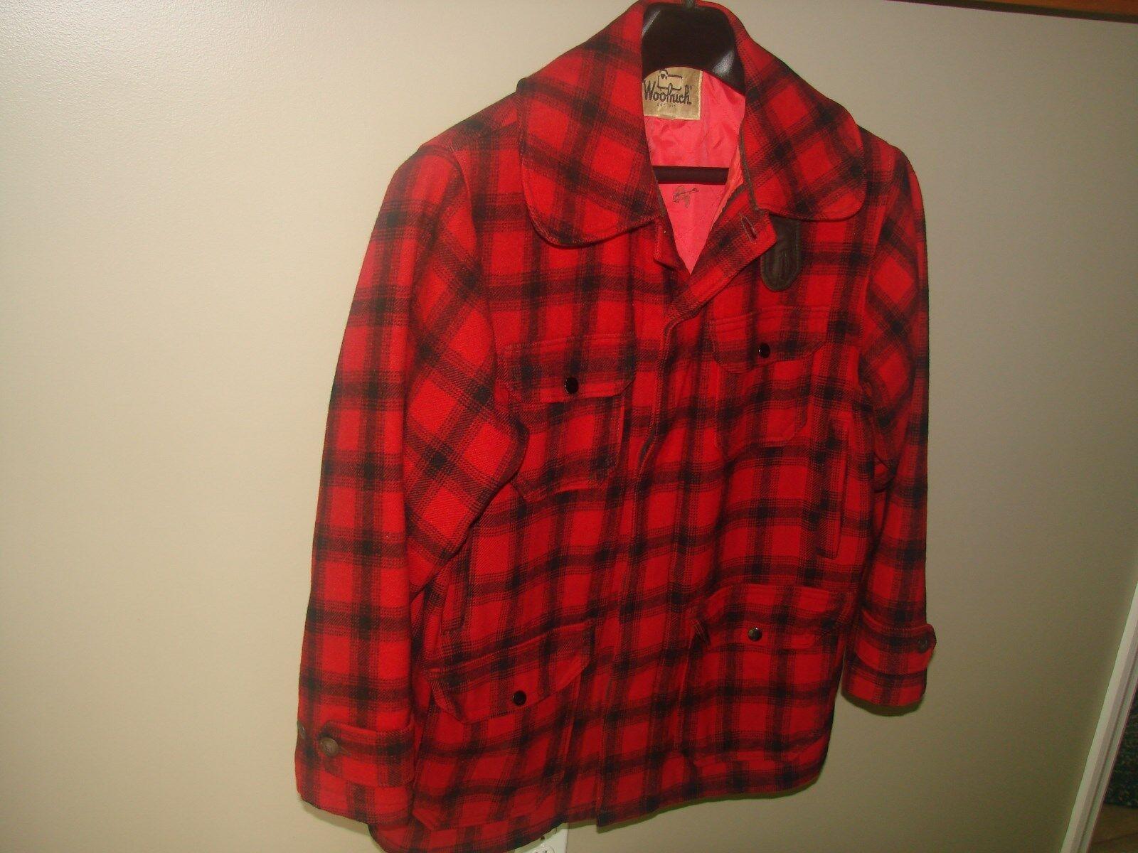 Early Vintage Woolrich Caza Chaqueta Abrigo para hombre de lana de cuadros rojo negro
