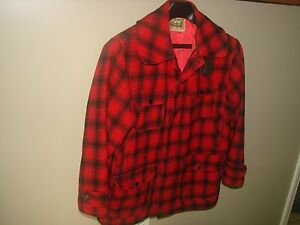 Early-Vintage-WOOLRICH-Hunting-JACKET-COAT-Size-42-Men-039-s-Red-Black-PLAID-Wool