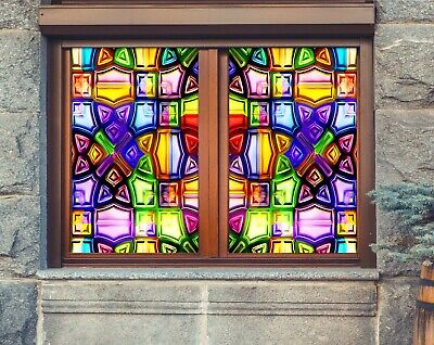 Details about  /3D Colored Circle A22 Window Film Print Sticker Cling Stained Glass UV Zoe