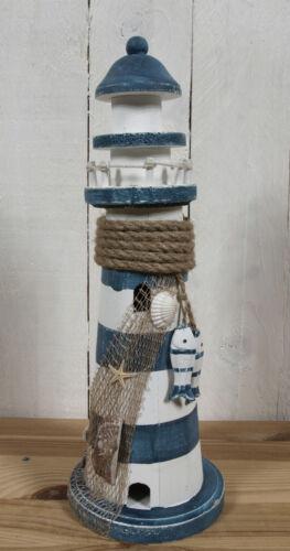33cm mit 2 Holzfischen maritime Deko Holz Leuchtturm blau//weiß gestreift ca