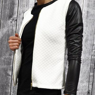 Womens Celeb Jacket Coat PU Leather Sleeve Zipper Motorcycle Bike Autumn Outwear
