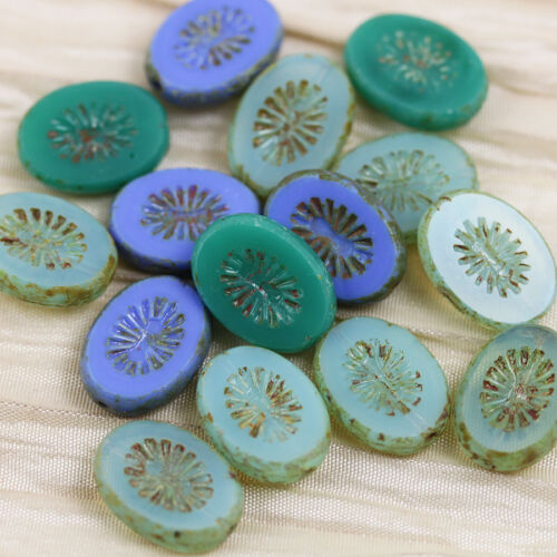 15pcs 14x11mm Oval with Starburst Picasso Table Cut Czech glass beads