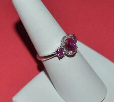 DESIGNER SIGNED AU STERLING SILVER DIAMOND AND RUBY RING SIZE 7