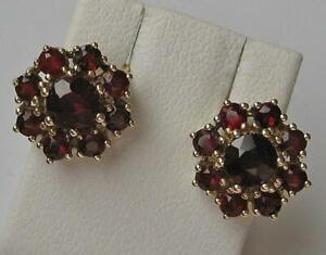 1-Paar-Ohrringe-mit-Granat-Granatohrringe-Tracht-in-aus-8-Kt-333-Gold-Garnet