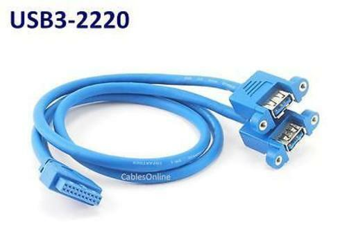 """19/"""" 20-Pin Motherboard Header Female to 2x USB 3.0 Female Panel Mount Cable"""