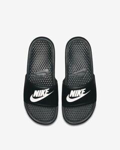 sports shoes c5e03 38553 Image is loading NIKE-BENASSI-JDI-343880-090-SLIDE-BLACK-WHITE-
