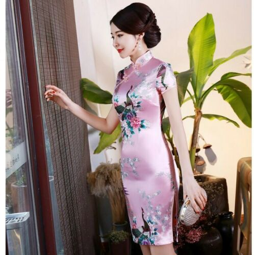 New Women Satin Chinese Traditional Cheongsam Summer Floral Phoenix S-6XL Size D