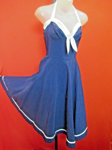 PINUP COUTURE Navy White Deadly Dames Full Circle