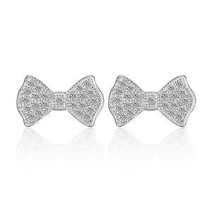 Women-Elegant-925-Sterling-Silver-CZ-Cubic-Zircon-Bowknot-Ear-Stud-Earrings