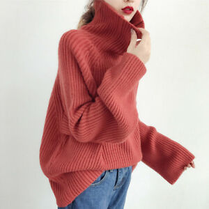 Korean-Women-Knit-Turtleneck-Sweater-Pullover-Oversized-Coat-Casual-Tops-Blou-Ed