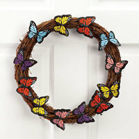 Brand - Grapevine Wreath With Fabric Multi-color Butterfly Accents - 12 D