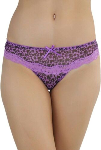 ToBeInStyle Women/'s Pack of 6 Tiny Daisy Print Thongs with Lace Detail