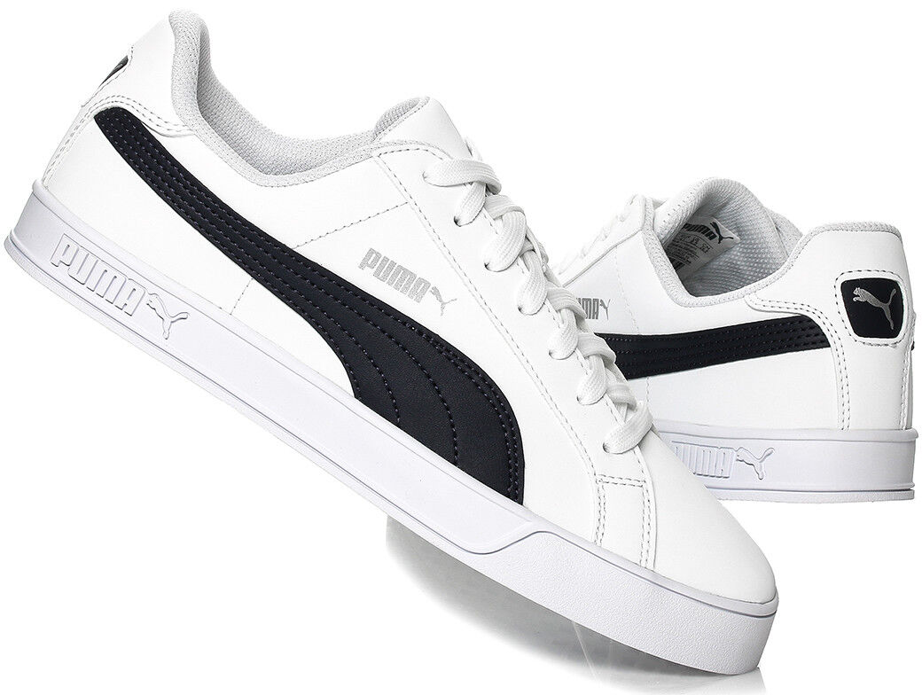 PUMA homme Smash Vulc Leather Trainers chaussures 359622-10 blanc / Peacoat