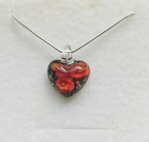 Red Crystal Heart Solid Sterling Silver Chain Choker Necklace