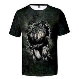 Men-039-s-T-shirt-Creative-3D-Wolf-Print-Short-Sleeve-Dark-Forest-Gree-4XL