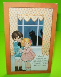 Vintage-Halloween-Postcard-Whitney-Celebrate-Black-Cat-In-Window-Original-Unused