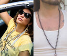 Vtg lanyard necklace xl heavy ball chain Bronze dark chain long charm holder