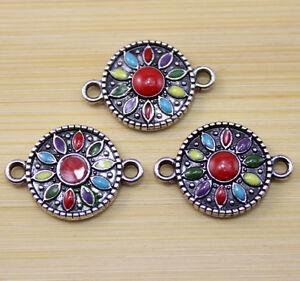 10//30//100 pcs Retro Style flower enamel alloy bracelet Charms Connectors 23x16mm