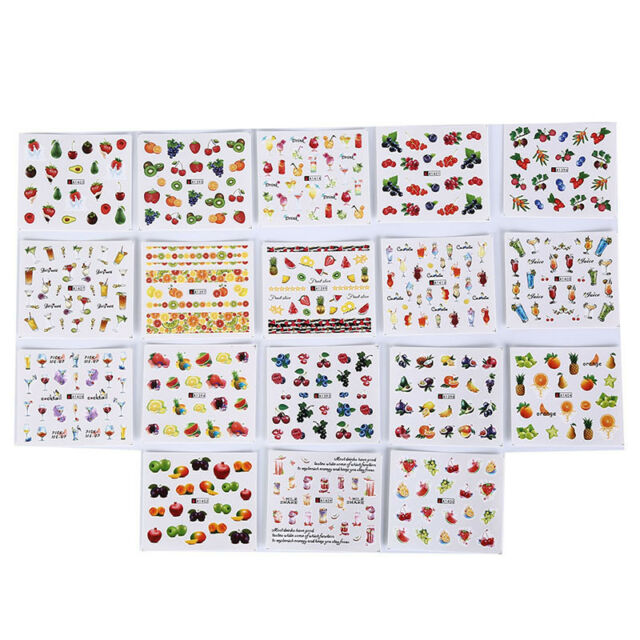 18 sheets fruit cocktails watermark decals water transfers nail art stickers DIY