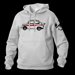 FELPA-FIAT-600-ABARTH-CAPPUCCIO-SWEATSHIRT-SUDADERA-BIANCA-WHITE