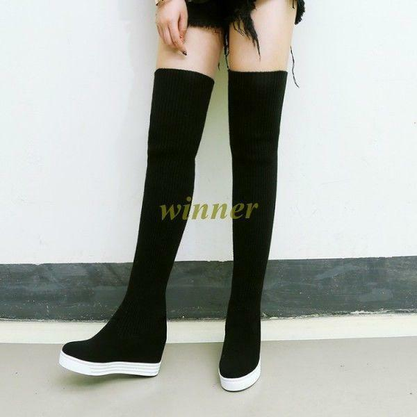 Fashion Women Platform Wedge Over Knee Boots Thigh High Heel hot Sneakers